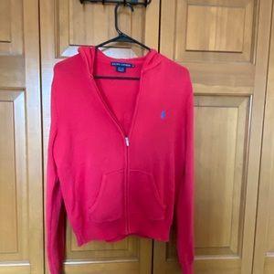 Ralph Lauren Red/Melon colored zip sweater